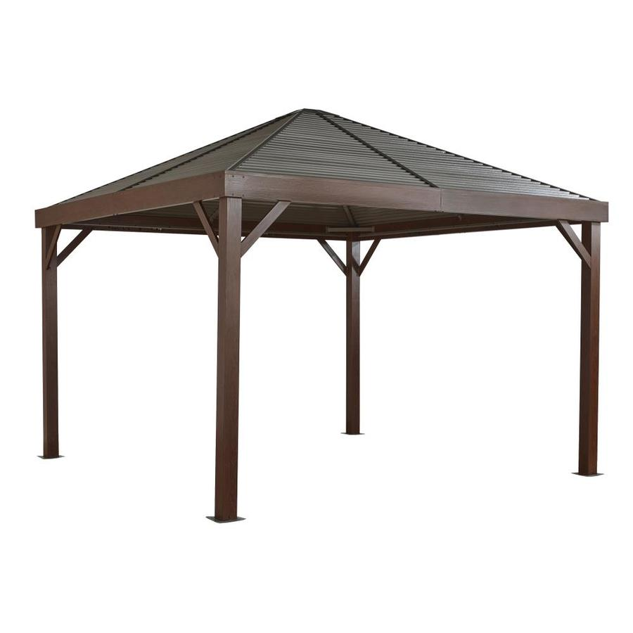 sojag south beach taupe metal square screened gazebo with steel roof exterior 11 9 ft x 11 9 ft foundation 12 ft x 12 ft