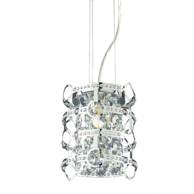 Style Selections Kentley 8 In Chrome Crystal Mini Drum Pendant