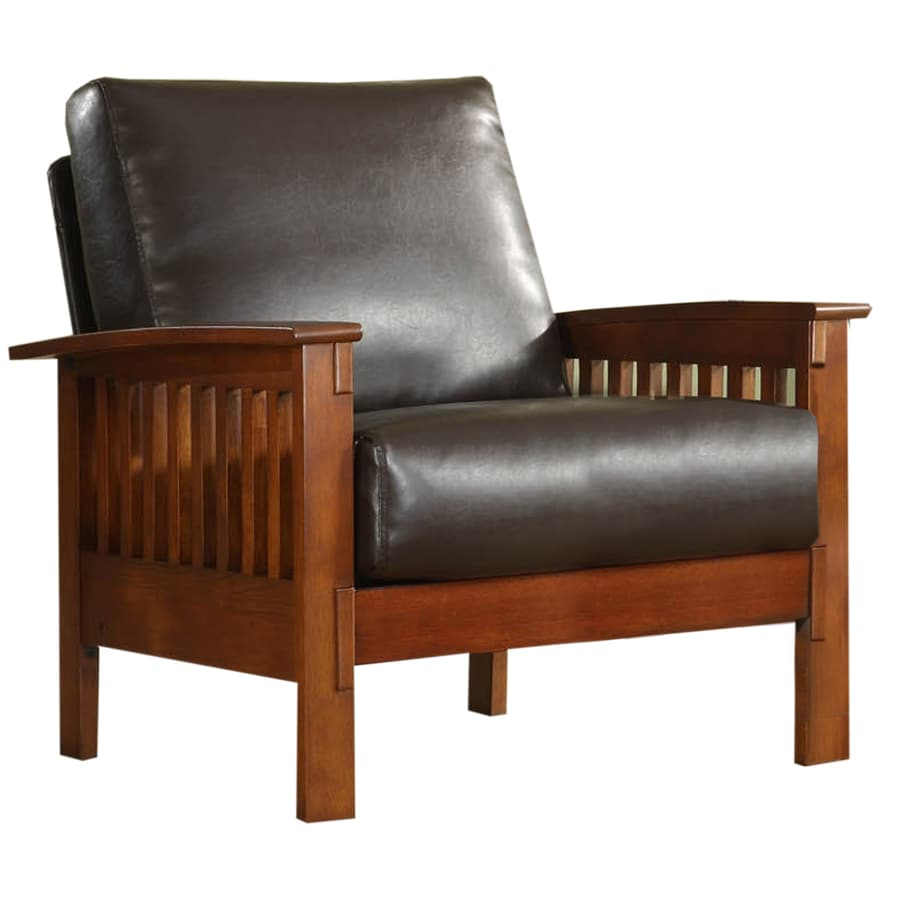 leather accent chairs for living room best place to buy sets home sonata modern oak faux chair at lowes com