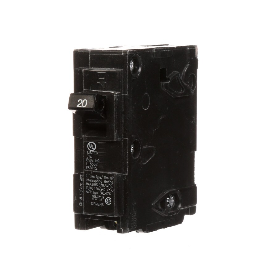 medium resolution of siemens qp 20 amp 1 pole main circuit breaker at lowes com wiring dow swi chthe 20 amp fuse