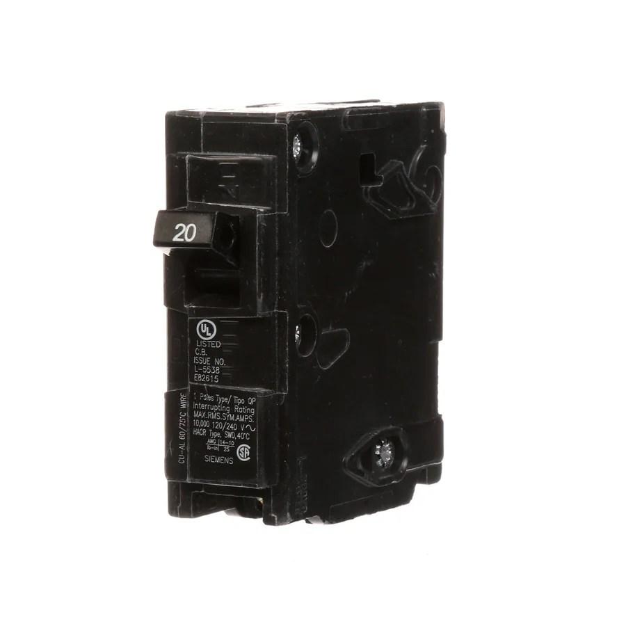 medium resolution of siemens qp 20 amp 1 pole main circuit breaker