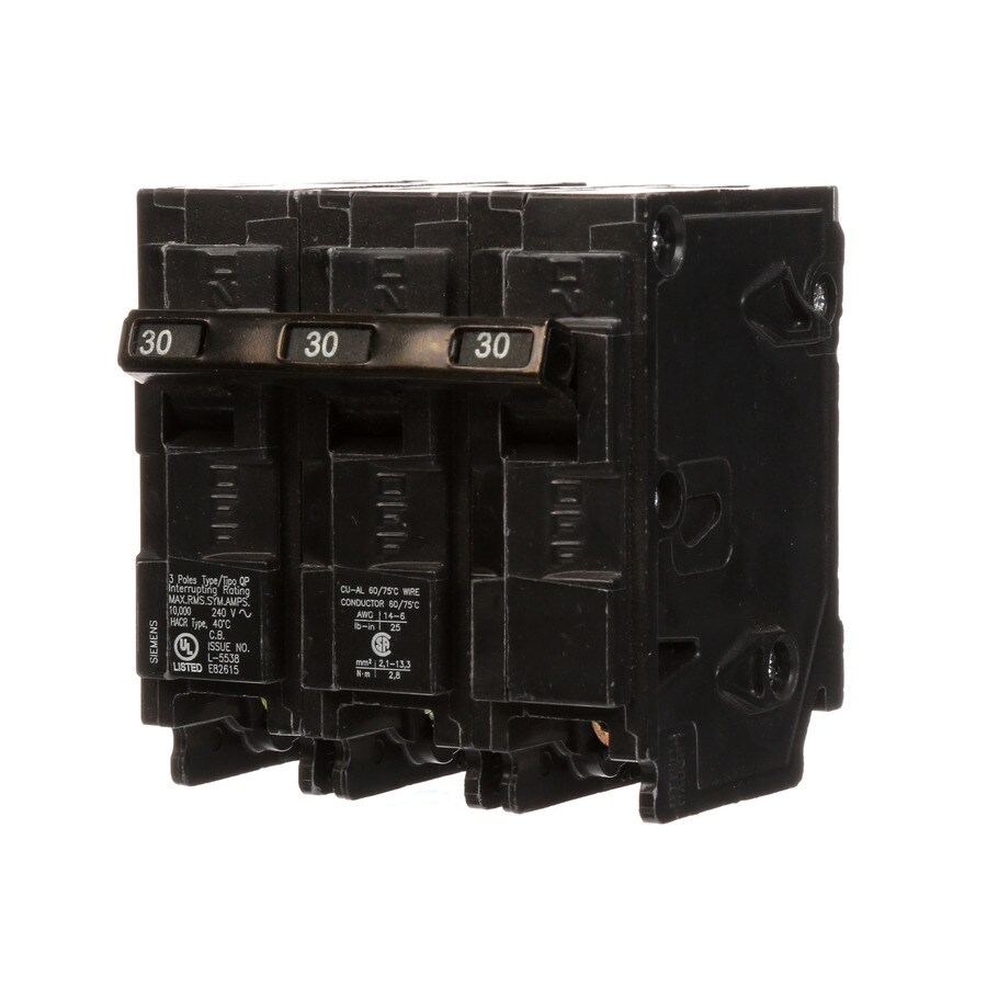 medium resolution of siemens qp 30 amp 3 pole main circuit breaker