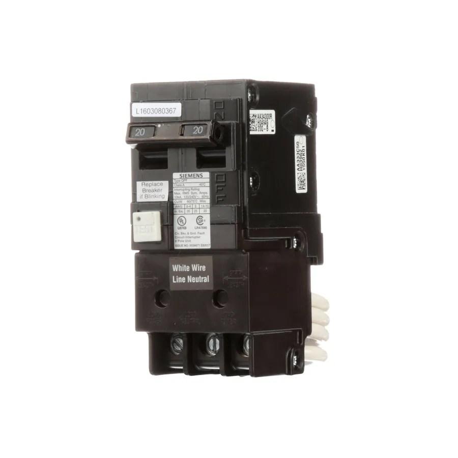 Shop Siemens Qp 20amp Ground Fault Circuit Breaker At Lowescom