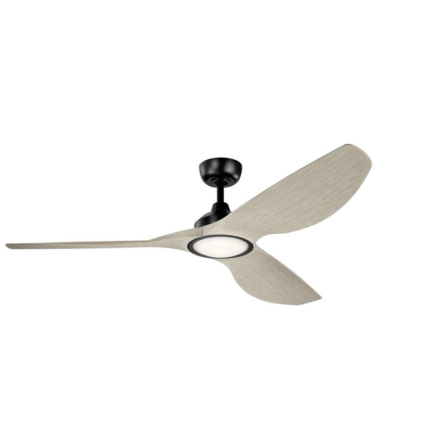 kichler imari 65 in satin black led indoor outdoor ceiling fan with light 3 blade