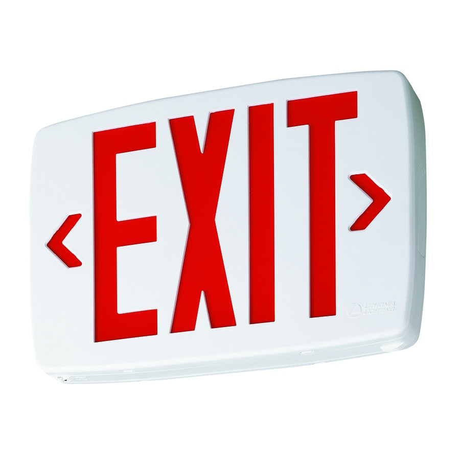 lithonia lighting quantum white led exit sign emergency backup with red letters