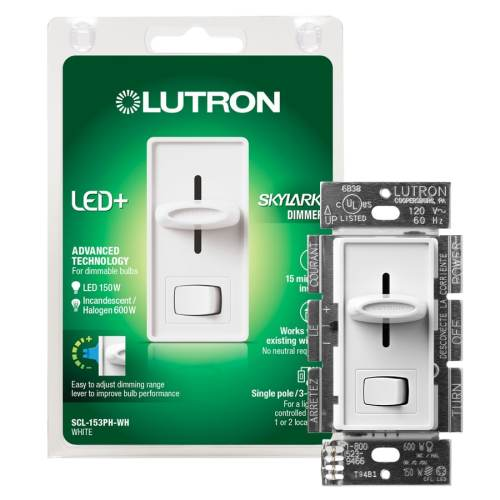 small resolution of lutron skylark 150 watt single pole 3 way white led dimmer