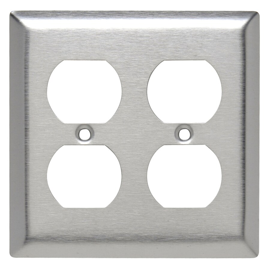Legrand 2 Gang Stainless Steel Double Standard Wall Plate