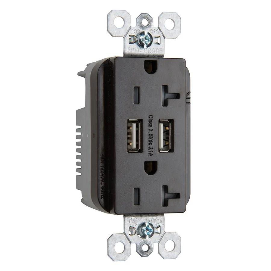 hight resolution of legrand brown 20 amp decorator tamper resistant commercial usb outlet