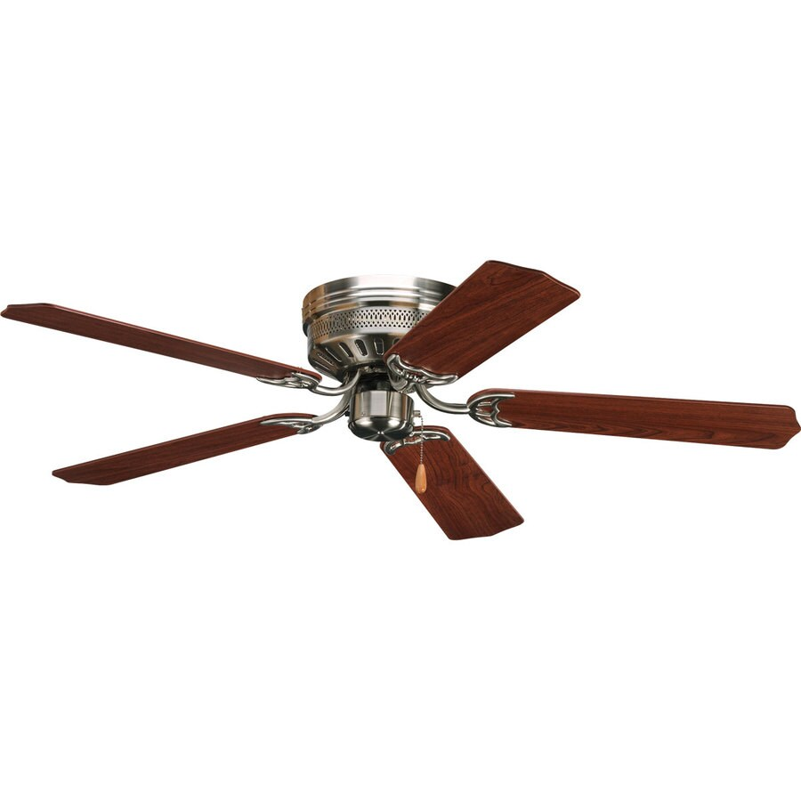 Shop Progress Lighting AirPro Hugger 52in Brushed nickel Indoor Flush Mount Ceiling Fan at