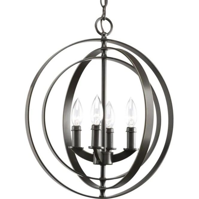Progress Lighting Equinox 16 In 4 Light Antique Bronze Globe Chandelier