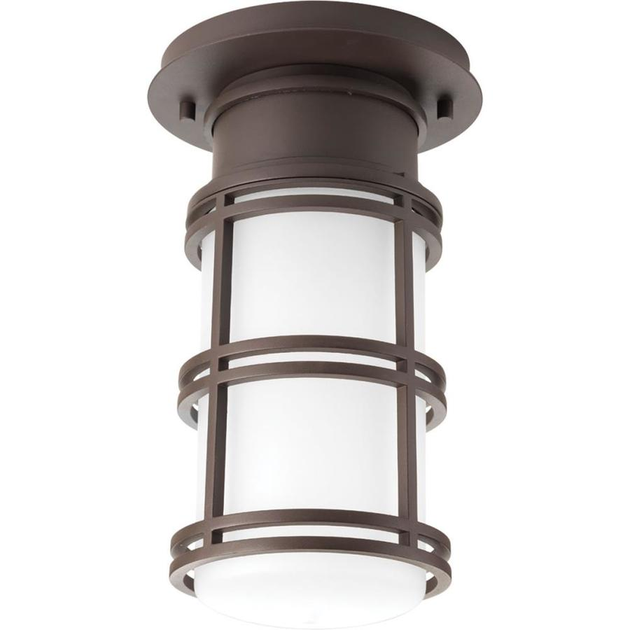 progress lighting bell 6 625 in w antique bronze outdoor flush mount light energy star
