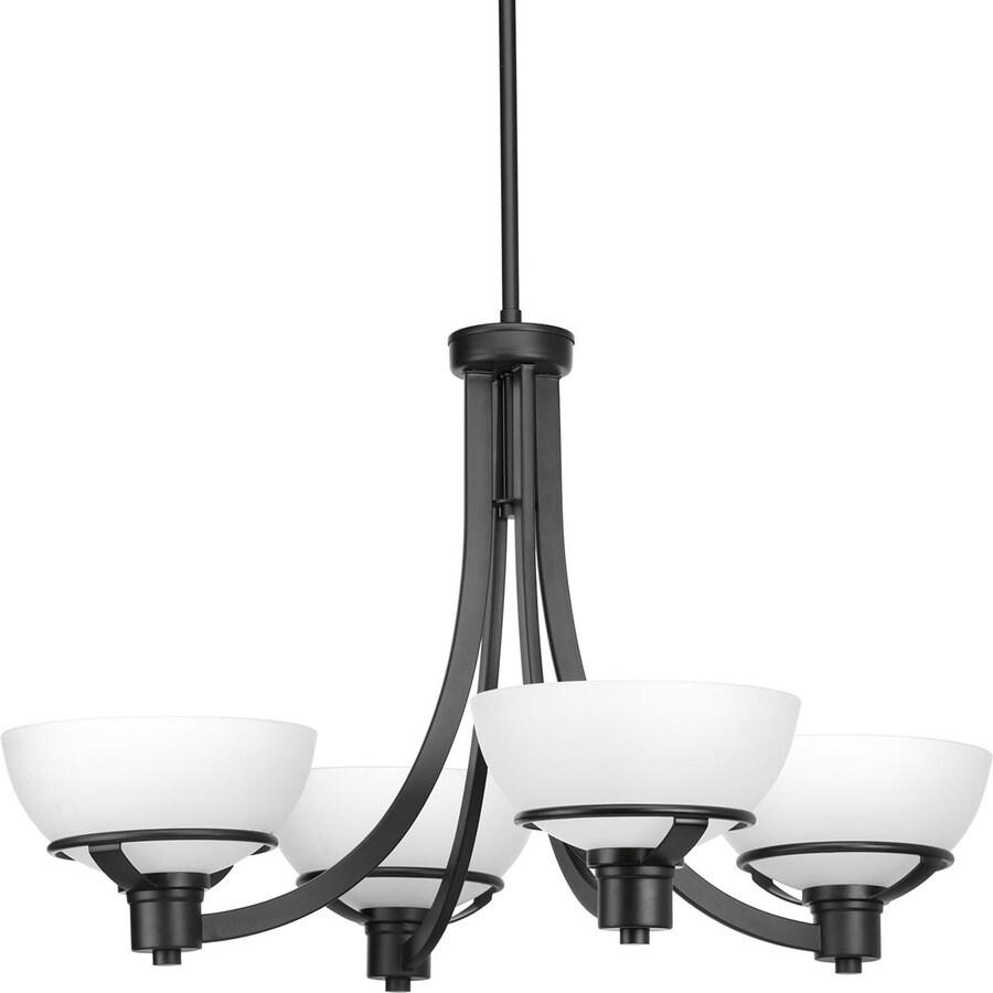 progress lighting domain 4 light black industrial chandelier