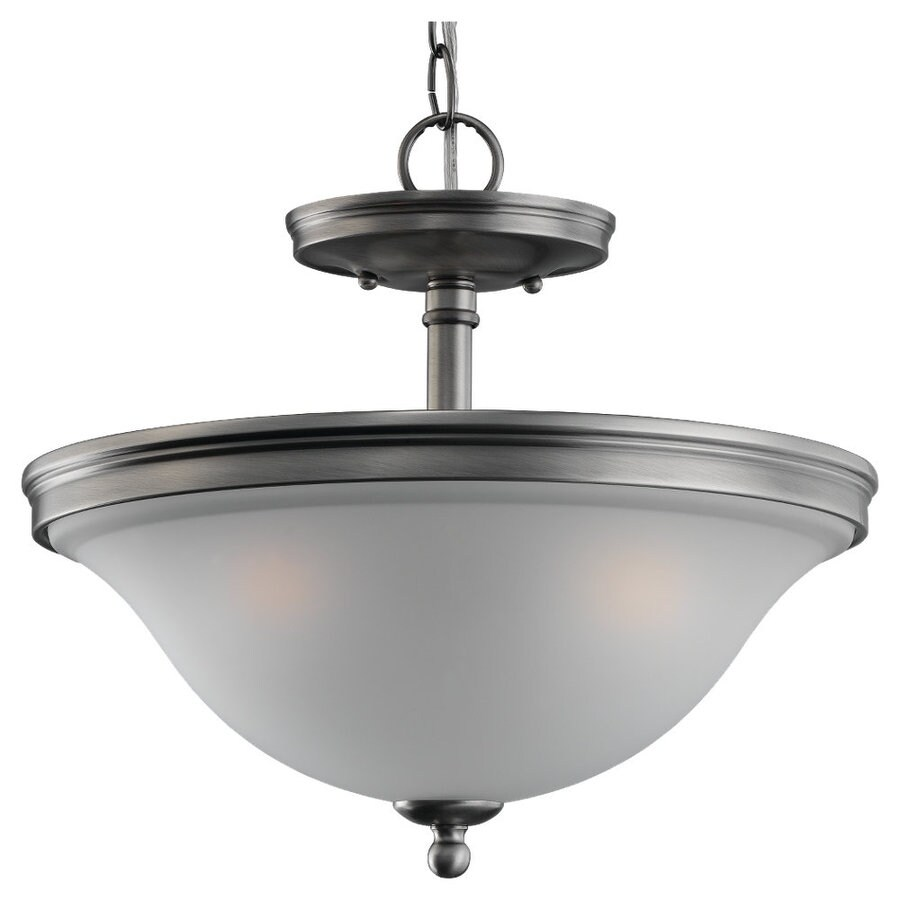 sea gull lighting gladstone 14 06 in w antique brushed nickel frosted glass semi flush mount light at lowes com