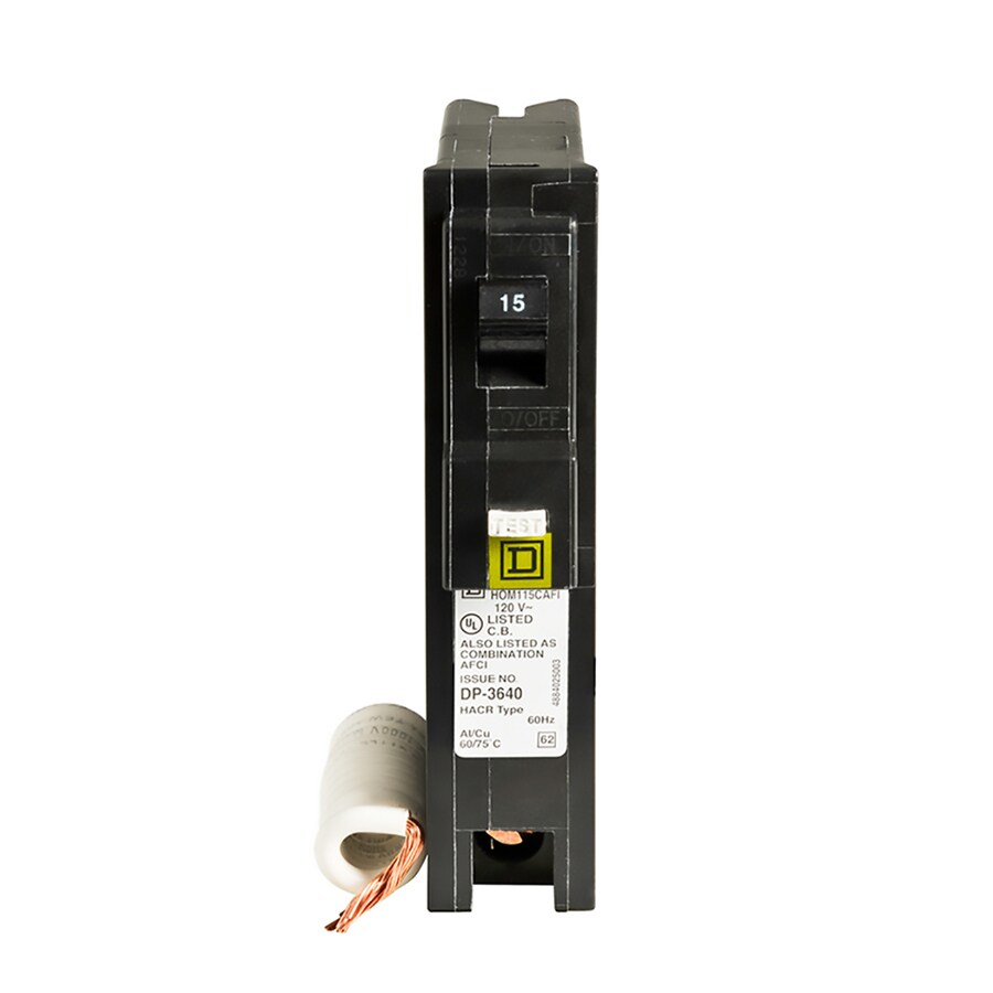 medium resolution of circuit breakers at lowes comsquare d homeline 15 amp 1 pole combination arc fault circuit breaker