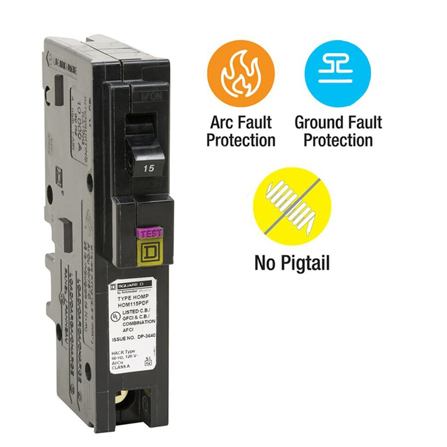 medium resolution of square d homeline 15 amp 1 pole dual function afci gfci circuit breaker