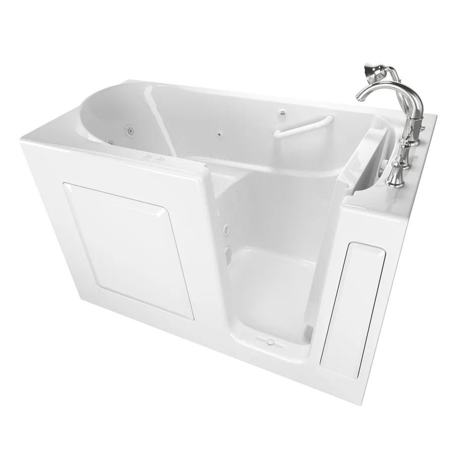 American Standard 59in White GelcoatFiberglass Rectangular RightHand Drain WalkIn Whirlpool