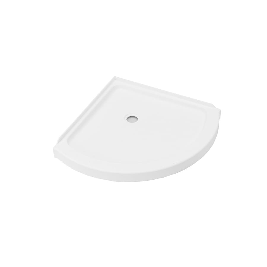 american standard axis 36 in l x 36 in w white acrylic round corner shower base lowes com