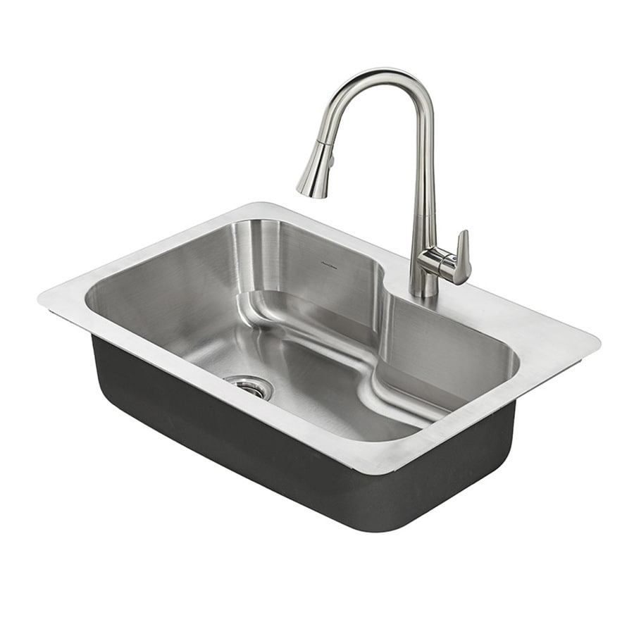 single sink kitchen large white island sinks at lowes com american standard raleigh 33 in x 22 stainless steel basin drop