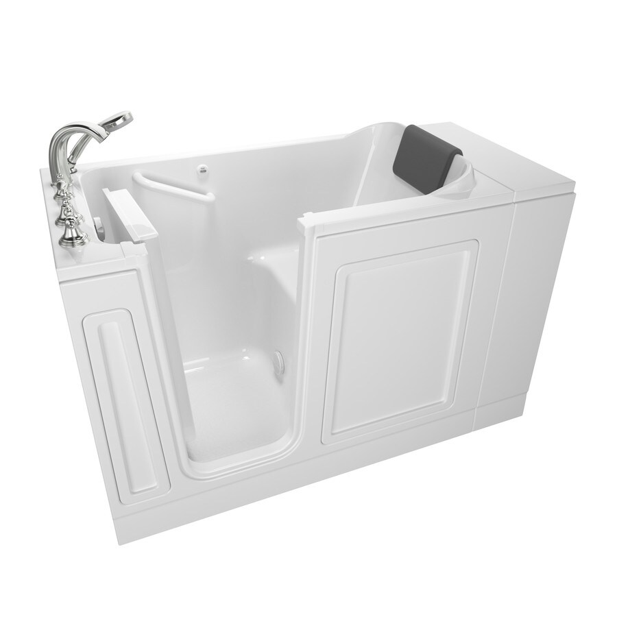 American Standard 48in White Acrylic Rectangular LeftHand Drain WalkIn Bathtub with Faucet