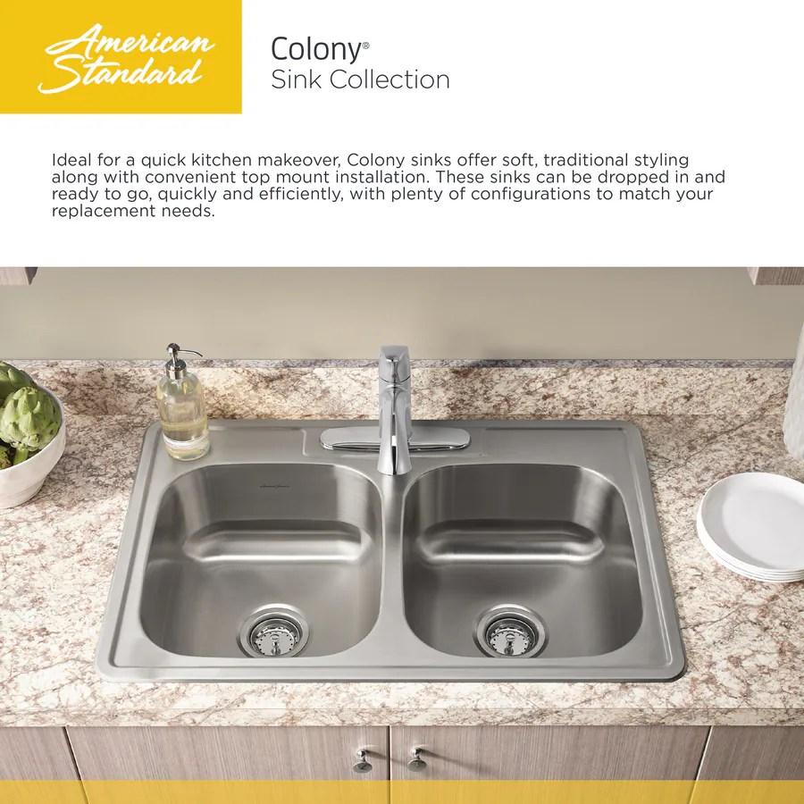 american standard colony top mount ada 25x22 single drop in 25 in x 22 in stainless steel single bowl 4 hole kitchen sink