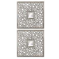 Shop Global Direct Antique Silver Beveled Square Wall ...