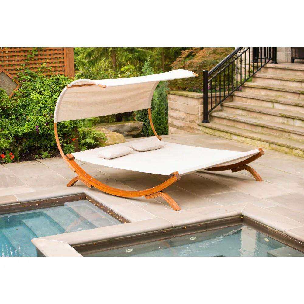 leisure season 2 person medium brown wood outdoor swing bed