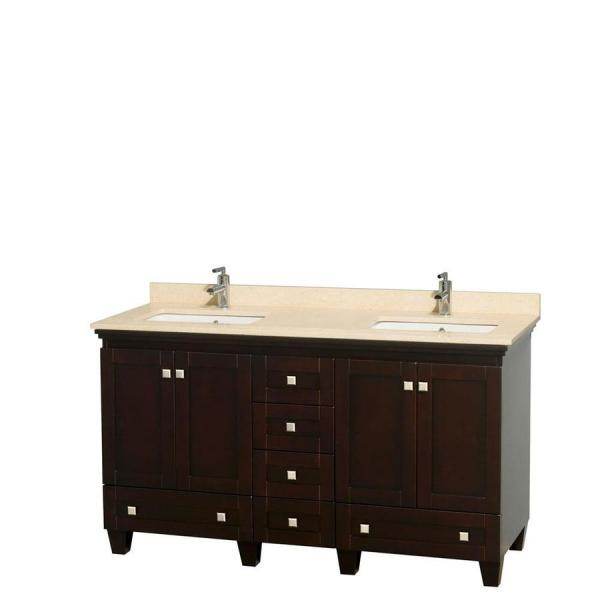 Wyndham Collection Acclaim 60-in Espresso Double Sink Bathroom Vanity With Ivory Natural Marble