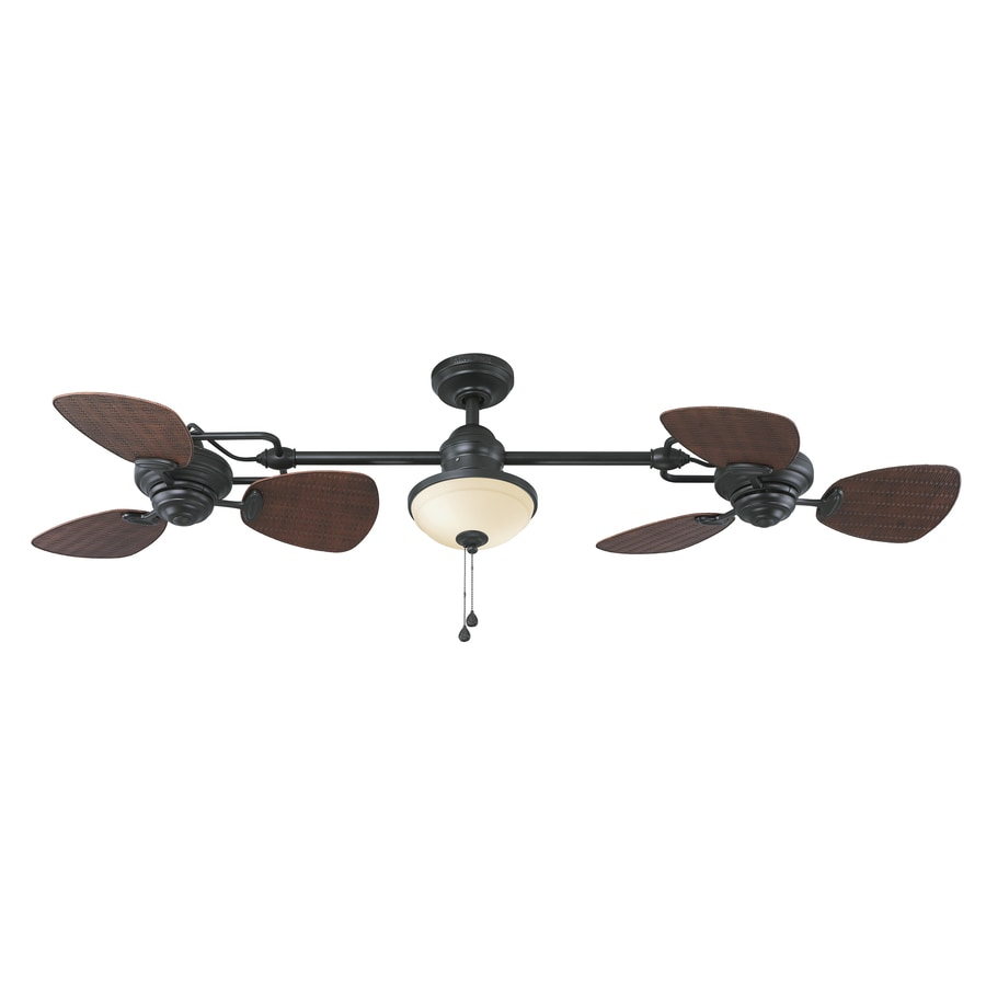 living room fans lowes pictures black and white harbor breeze twin ii 74 in oil rubbed bronze indoor outdoor downrod ceiling