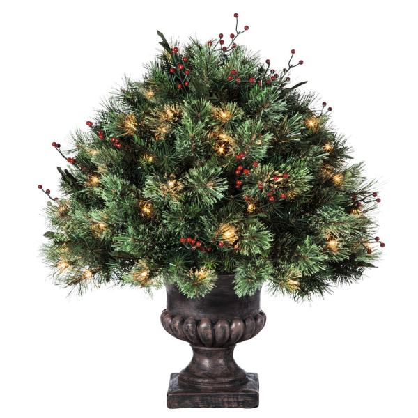 Holiday Living 2-ft Indoor Outdoor Single Ball Topiary Pre-lit Artificial Christmas Tree With 70