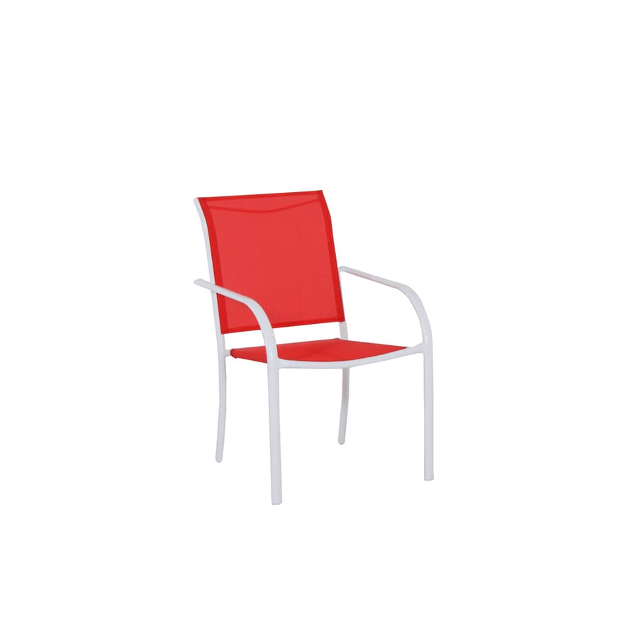 garden treasures stackable white metal frame stationary dining chair s with red sling seat