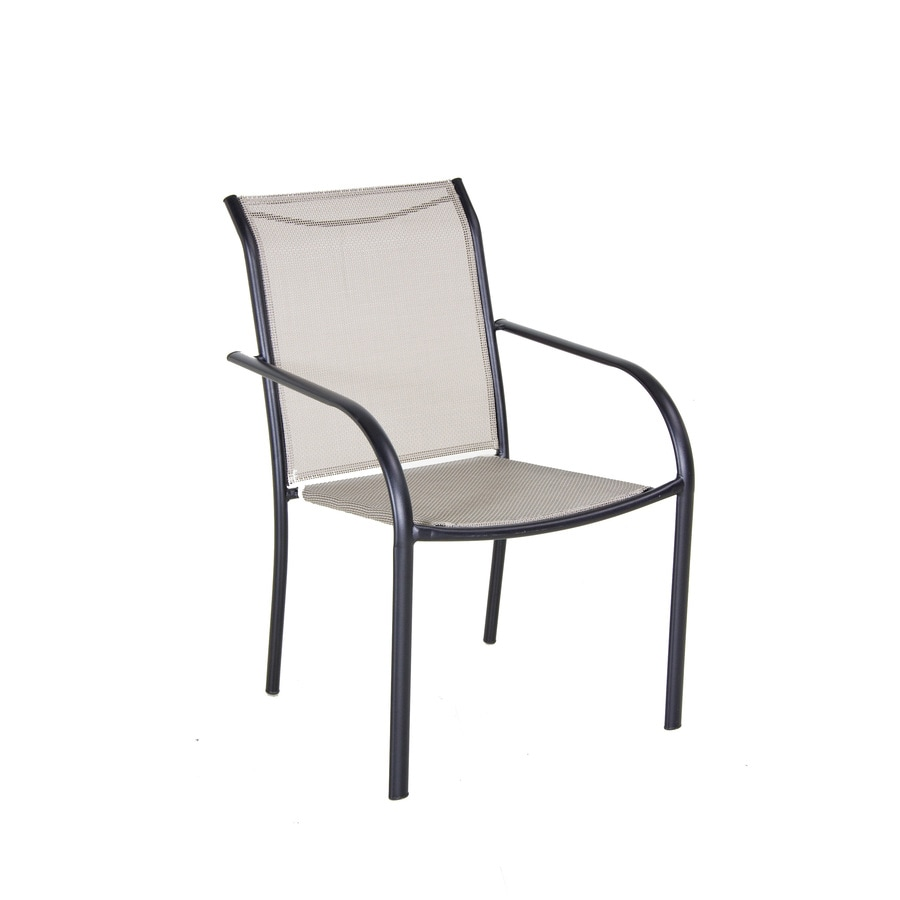 sling stackable patio chairs parsons chair seat covers shop garden treasures black steel dining at lowes.com