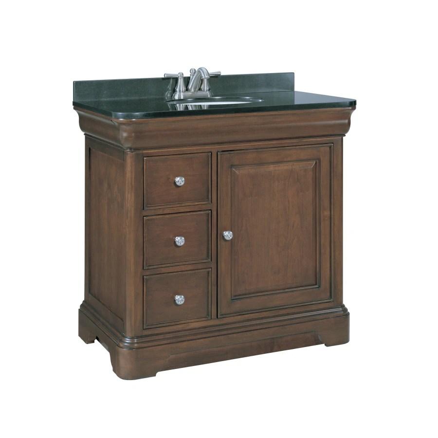 Allen  roth Fenella Rich Cherry Undermount Single Sink Bathroom Vanity with Granite Top Actual