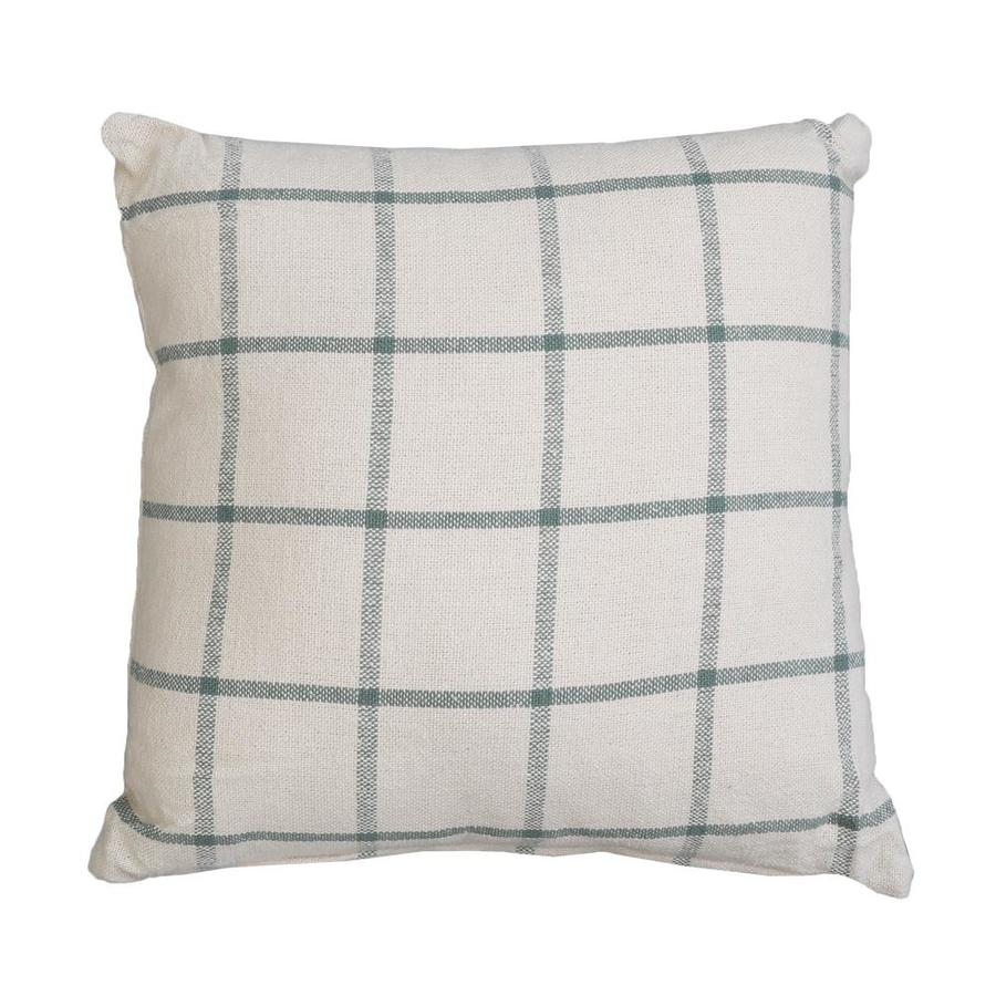 allen roth joann 20 in x 20 in off white and green faux linen square indoor decorative pillow
