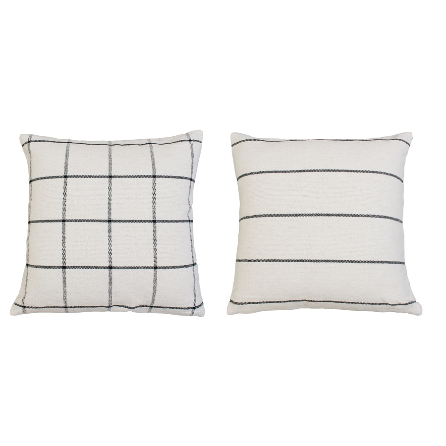 allen roth joann 20 in x 20 in black ink and off white faux linen square indoor decorative pillow