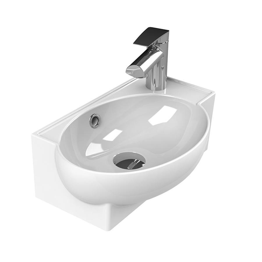 nameeks mini white ceramic wall mount rectangular bathroom sink with overflow drain 17 5 in x 11 2 in