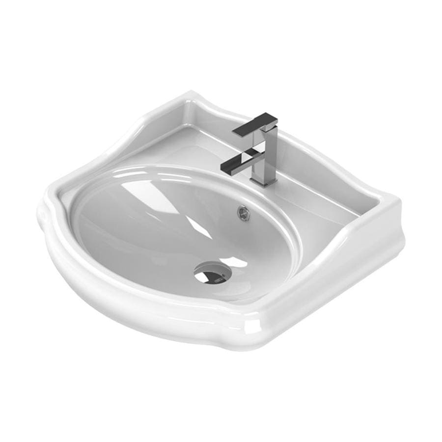 nameeks 1837 white ceramic wall mount round bathroom sink with overflow drain 23 7 in x 21 3 in