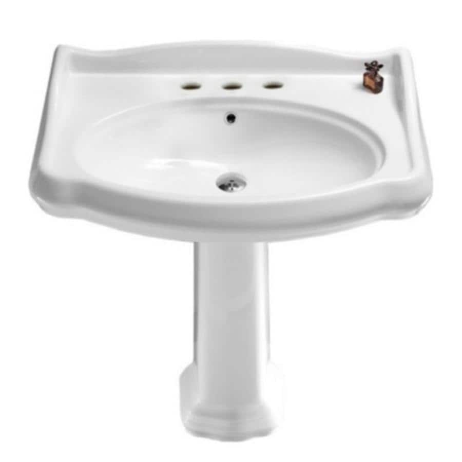 nameeks traditional 34 9 in h white composite pedestal sink combo