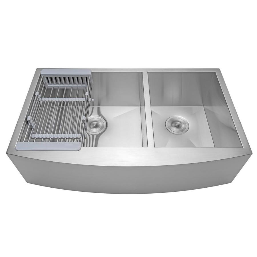 akdy handmade farmhouse apron front 33 in x 22 in stainless steel double offset bowl kitchen sink all in one kit