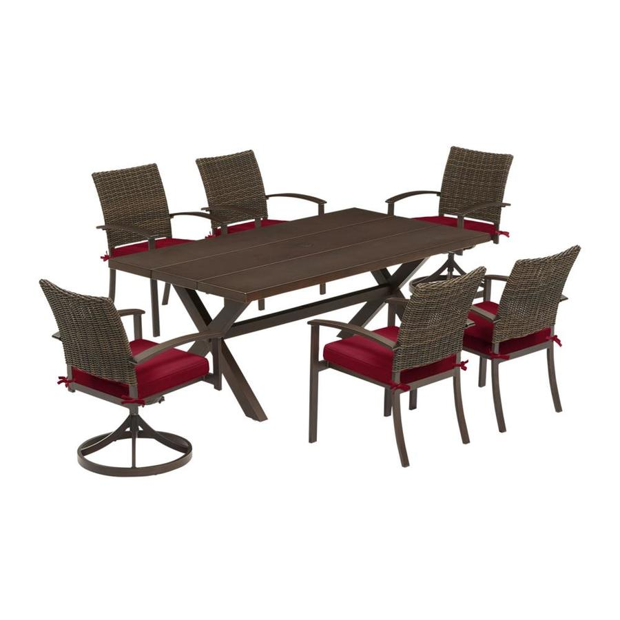 allen roth atworth 7 piece brown frame patio set with cherry red allen and roth cushion s included lowes com
