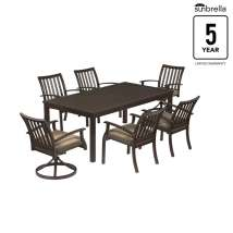 Gatewood 7-piece Brown Metal Frame Patio Dining Set With
