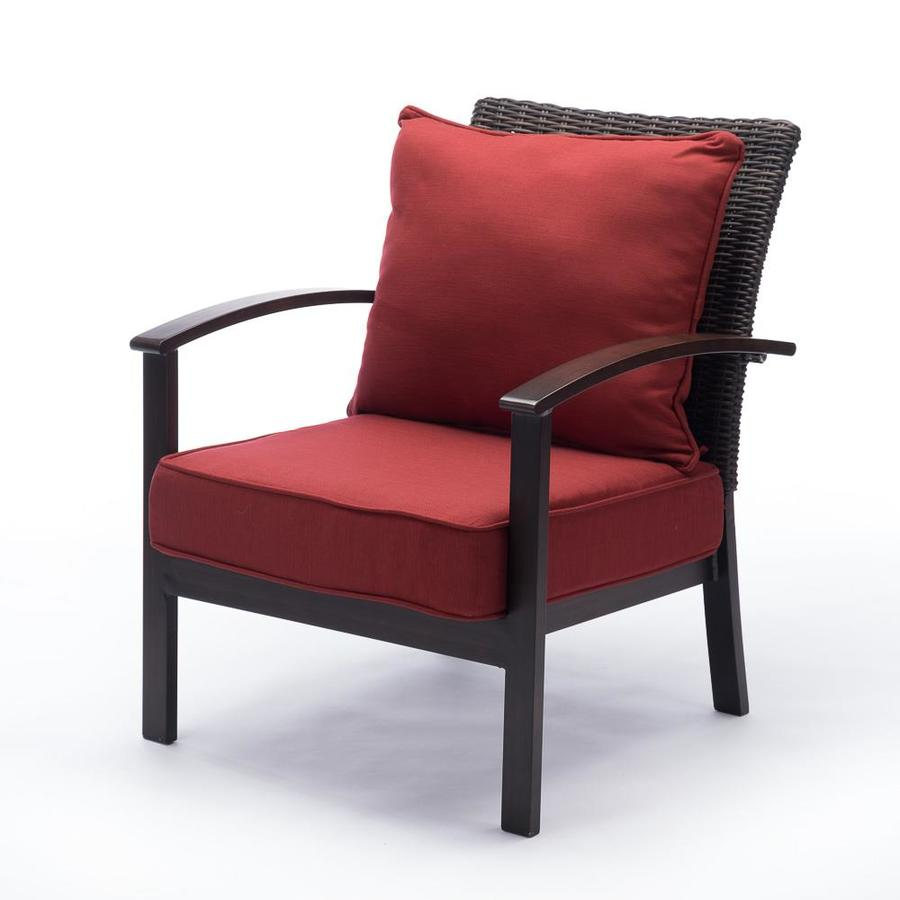 Red Patio Chairs Shop Allen Roth Atworth Set Of 2 Patio Chairs With Red Cushions
