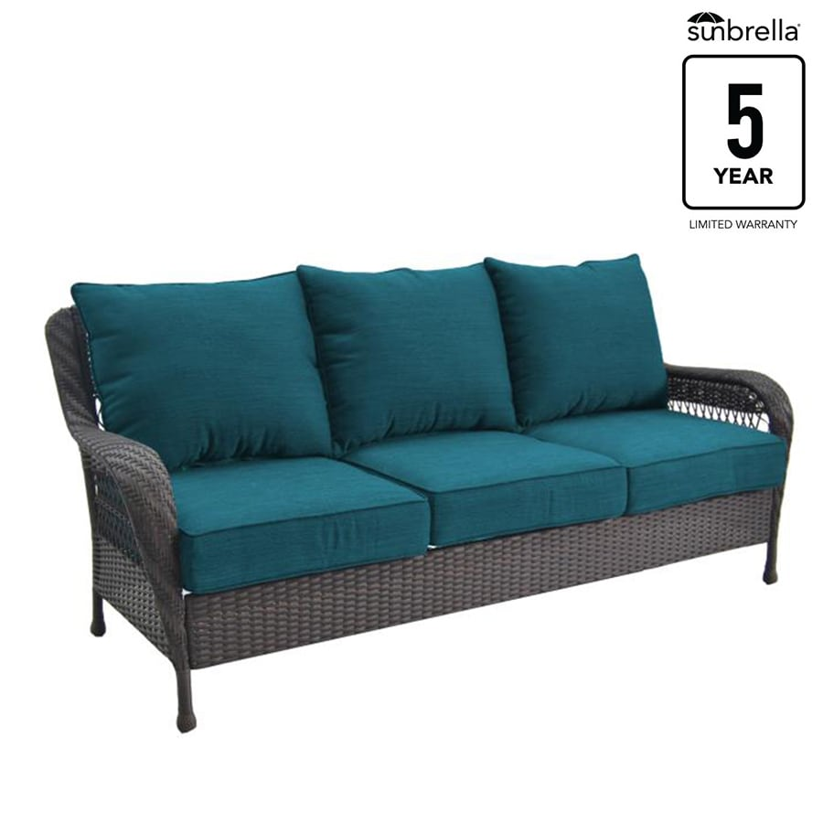 steel frame sofa rattan round table dining set allen roth glenlee wicker outdoor with solid blue cushion s included and brown