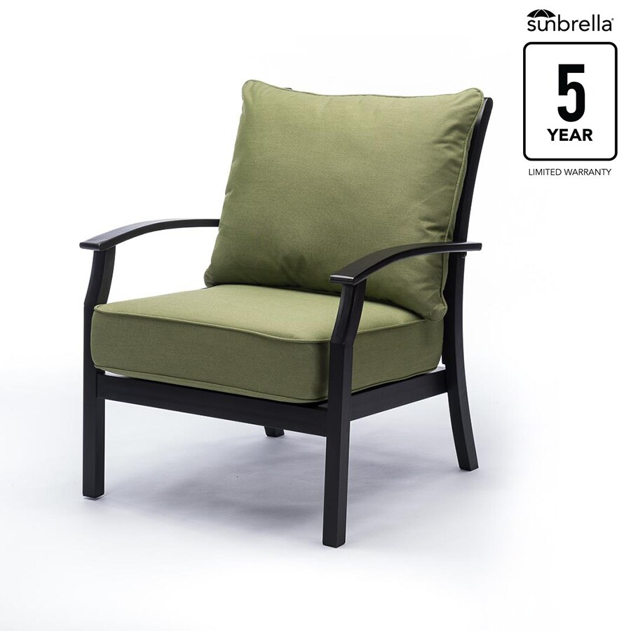 allen roth carrinbridge set of 2 black metal frame stationary conversation chair s with spectrum cilantro sunbrella cushioned seat