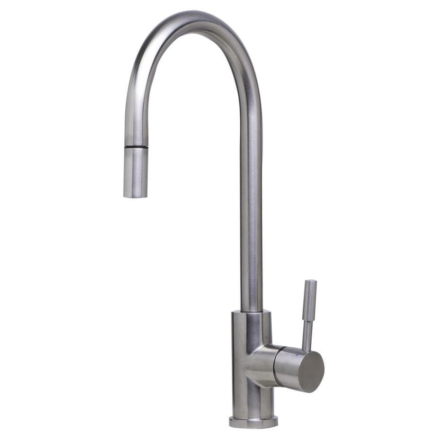 alfi brand brushed stainless steel 1 handle deck mount pull down handle kitchen faucet