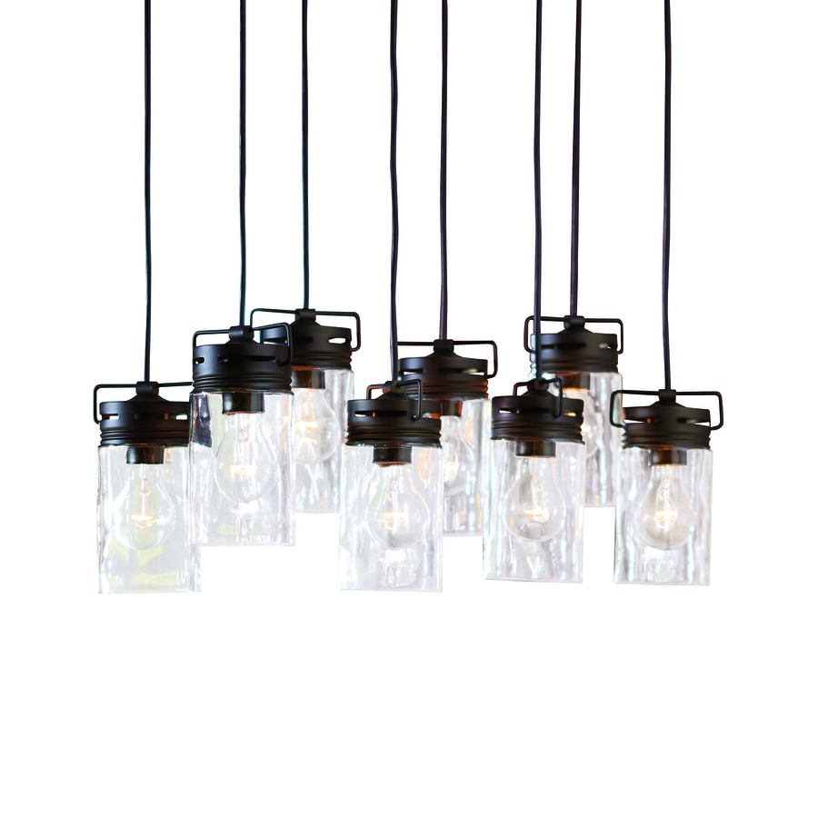 hight resolution of allen roth vallymede aged bronze multi light transitional clear glass jar pendant light