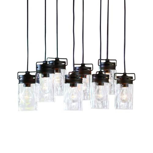 small resolution of allen roth vallymede aged bronze multi light transitional clear glass jar pendant light