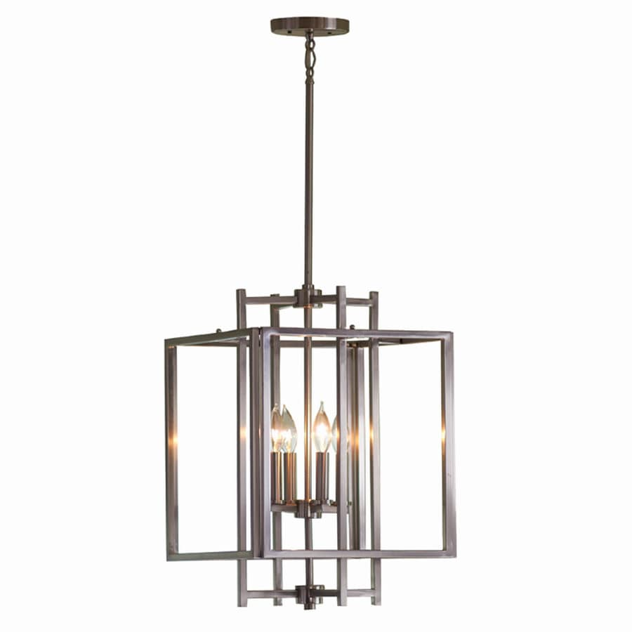 Allen  roth Brushed Nickel Single Industrial Cage Pendant