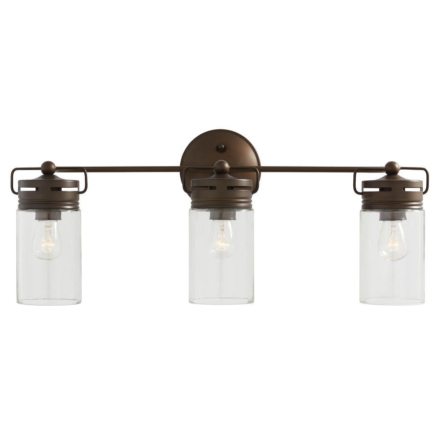 Bathroom Light Fixtures Allen Roth Vallymede 3 Light 24 In Aged Bronze Cylinder Vanity