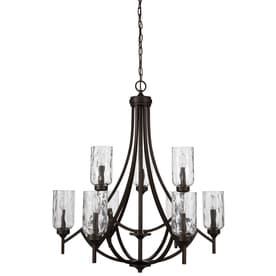 Allen Roth Latchbury 32 24 In 9 Light Craftsman Textured Glass Tiered Chandelier