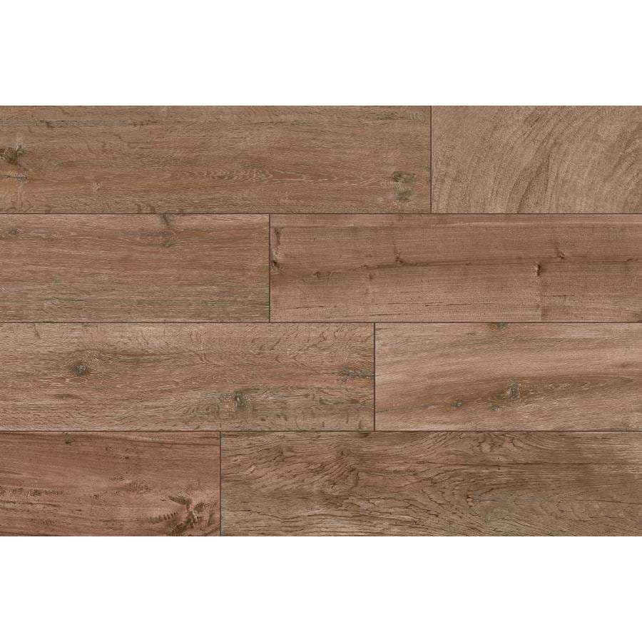 style selections woods natural 6 in x 24 in glazed porcelain wood look floor tile lowes com